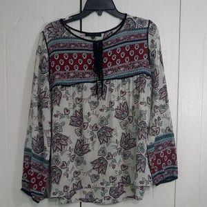 Sanctuary Boho Paisley Long Sleeve Shirt Size M